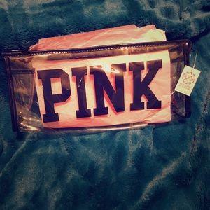 Clear Plastic Zip Makeup Bag PINK by VS